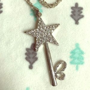 Silver tone star key necklace